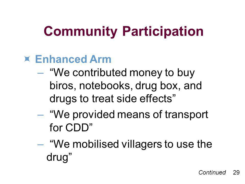 Continued 29 Community Participation Enhanced Arm – We contributed money to buy biros, notebooks, drug box, and drugs to treat side effects – We provided means of transport for CDD – We mobilised villagers to use the drug