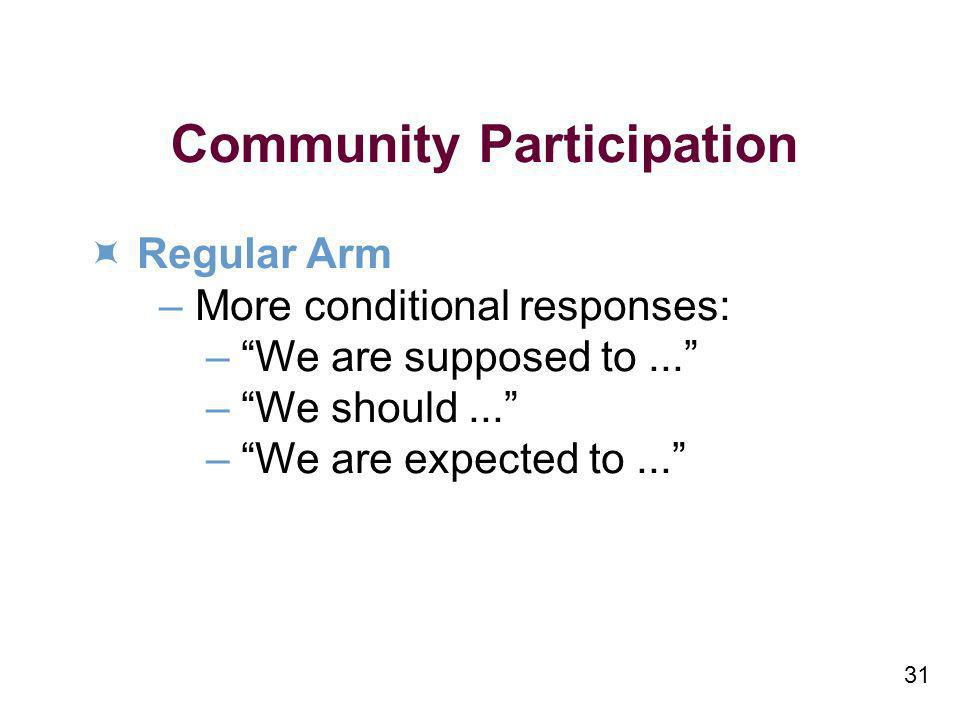 31 Community Participation Regular Arm – More conditional responses: – We are supposed to...