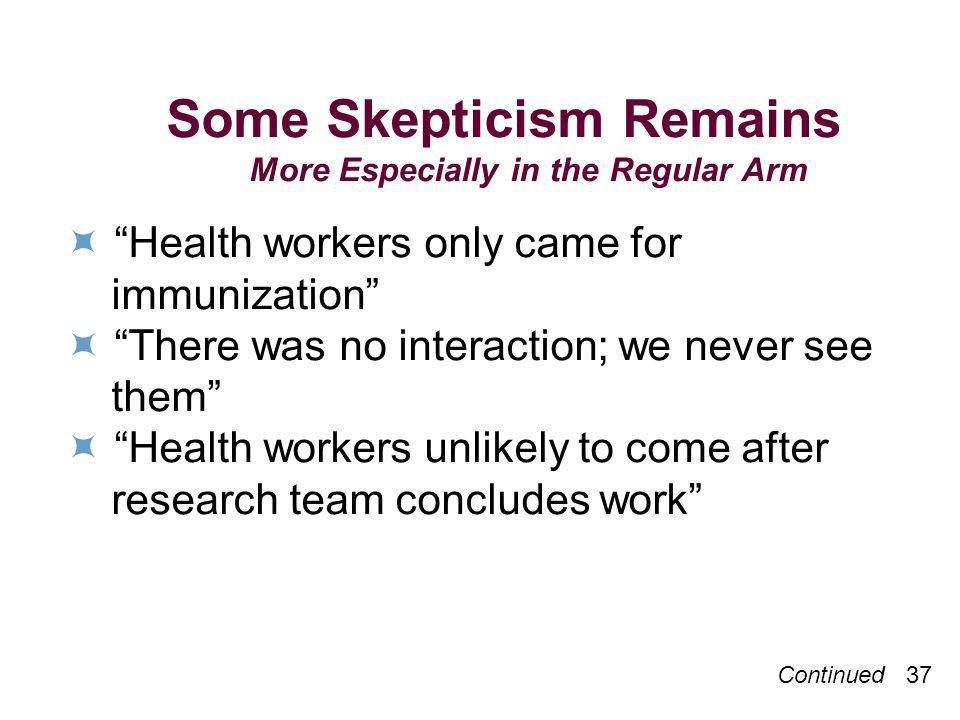 Continued 37 Some Skepticism Remains More Especially in the Regular Arm Health workers only came for immunization There was no interaction; we never s