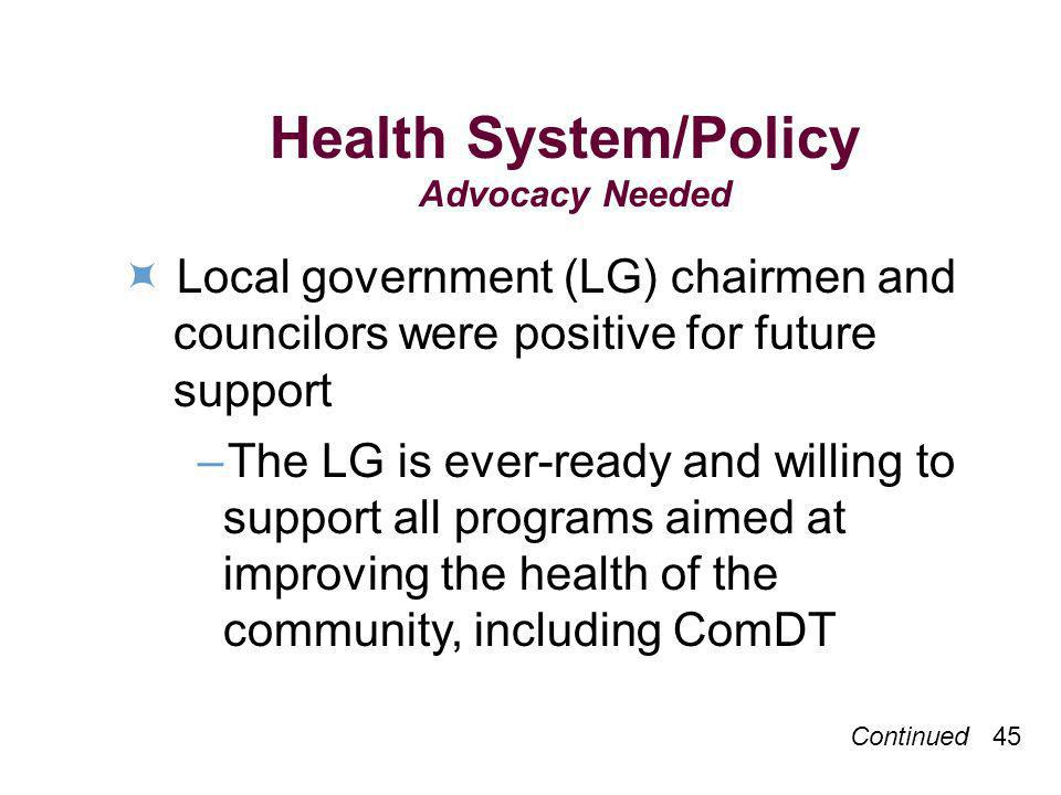 Continued 45 Health System/Policy Advocacy Needed Local government (LG) chairmen and councilors were positive for future support –The LG is ever-ready