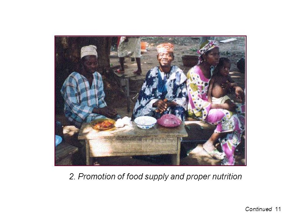 2. Promotion of food supply and proper nutrition 11Continued