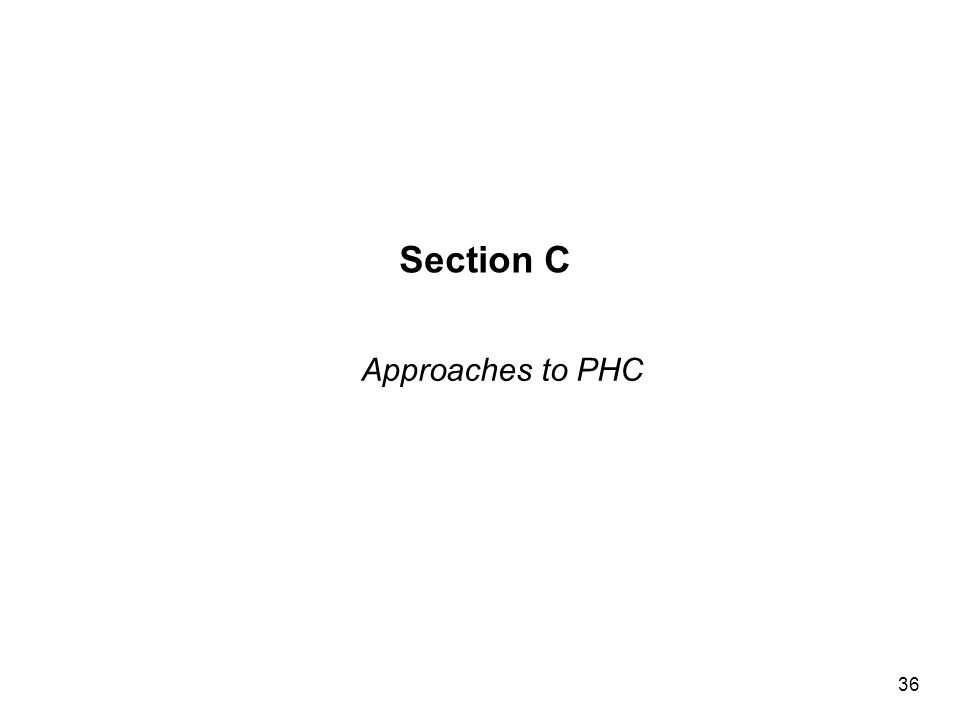 Section C Approaches to PHC 36
