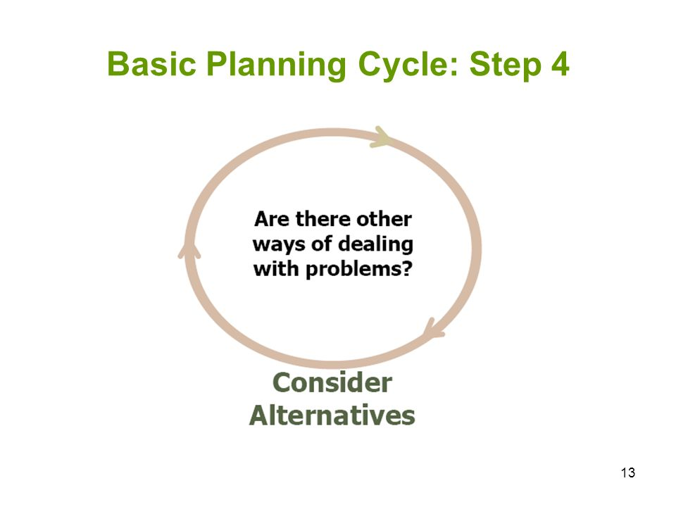 13 Basic Planning Cycle: Step 4