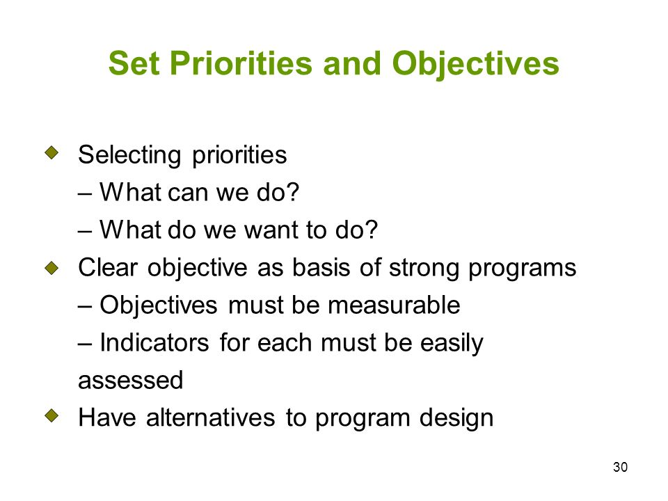 30 Set Priorities and Objectives Selecting priorities – What can we do.