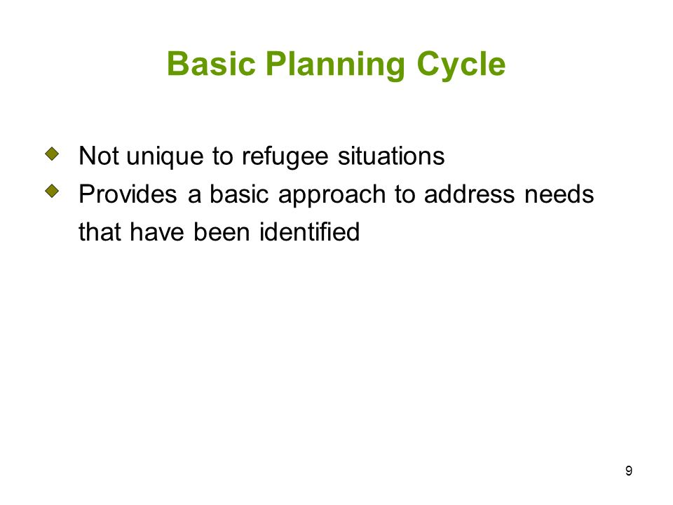 9 Basic Planning Cycle Not unique to refugee situations Provides a basic approach to address needs that have been identified