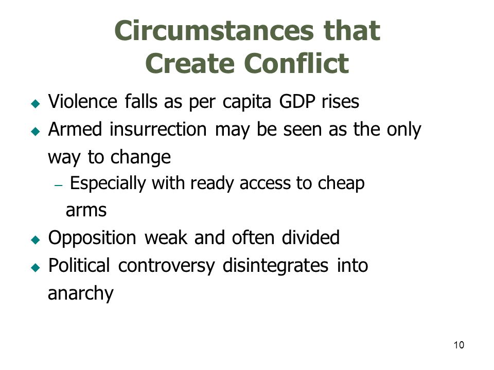 10 Circumstances that Create Conflict Violence falls as per capita GDP rises Armed insurrection may be seen as the only way to change – Especially wit