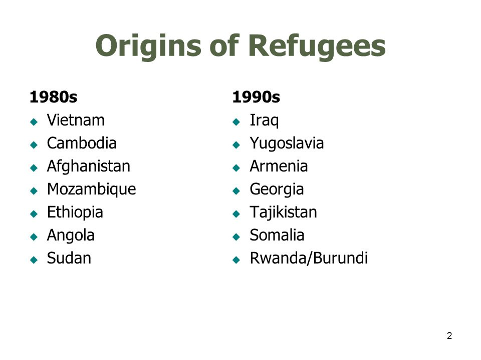 2 Origins of Refugees 1980s Vietnam Cambodia Afghanistan Mozambique Ethiopia Angola Sudan 1990s Iraq Yugoslavia Armenia Georgia Tajikistan Somalia Rwanda/Burundi