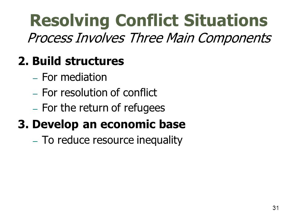 31 Resolving Conflict Situations Process Involves Three Main Components 2. Build structures – For mediation – For resolution of conflict – For the ret