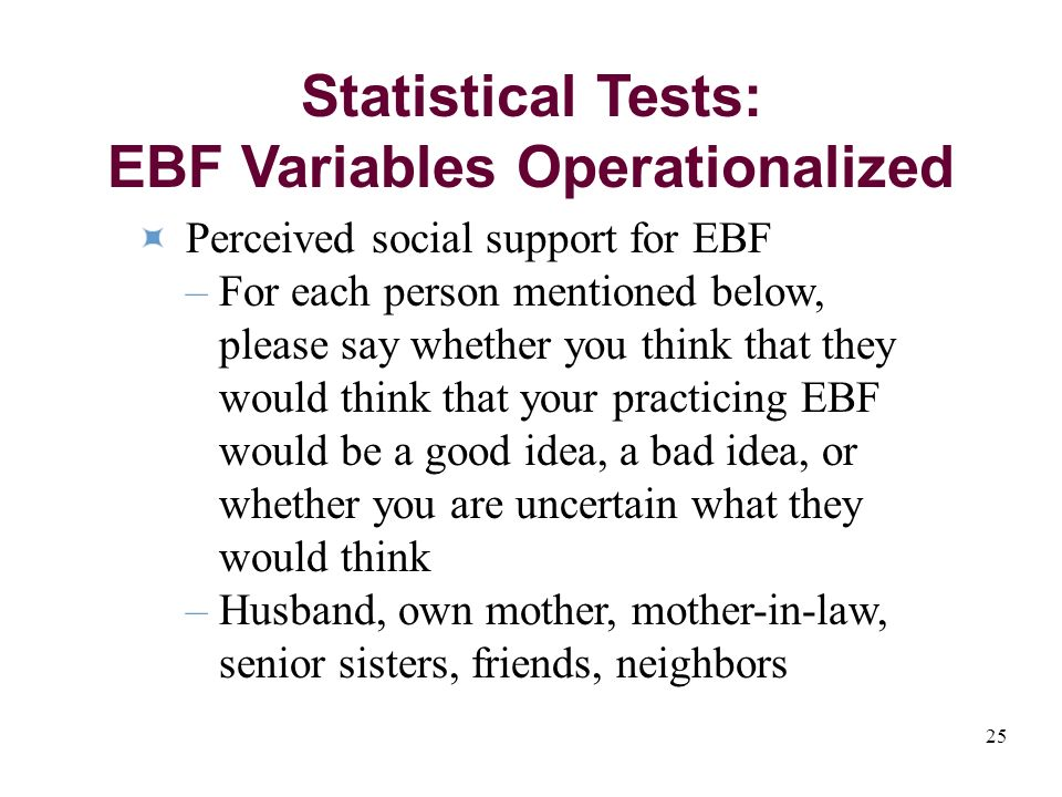 25 Perceived social support for EBF – For each person mentioned below, please say whether you think that they would think that your practicing EBF would be a good idea, a bad idea, or whether you are uncertain what they would think – Husband, own mother, mother-in-law, senior sisters, friends, neighbors Statistical Tests: EBF Variables Operationalized