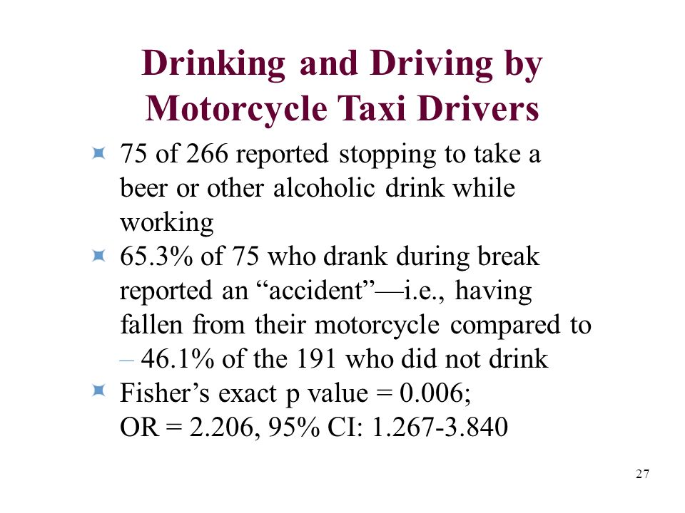 27 75 of 266 reported stopping to take a beer or other alcoholic drink while working 65.3% of 75 who drank during break reported an accidenti.e., having fallen from their motorcycle compared to – 46.1% of the 191 who did not drink Fishers exact p value = 0.006; OR = 2.206, 95% CI: 1.267-3.840 Drinking and Driving by Motorcycle Taxi Drivers