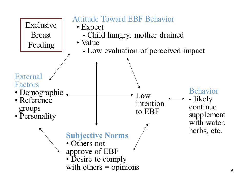 6 Exclusive Breast Feeding Attitude Toward EBF Behavior Expect - Child hungry, mother drained Value - Low evaluation of perceived impact External Factors Demographic Reference groups Personality Low intention to EBF Behavior - likely continue supplement with water, herbs, etc.