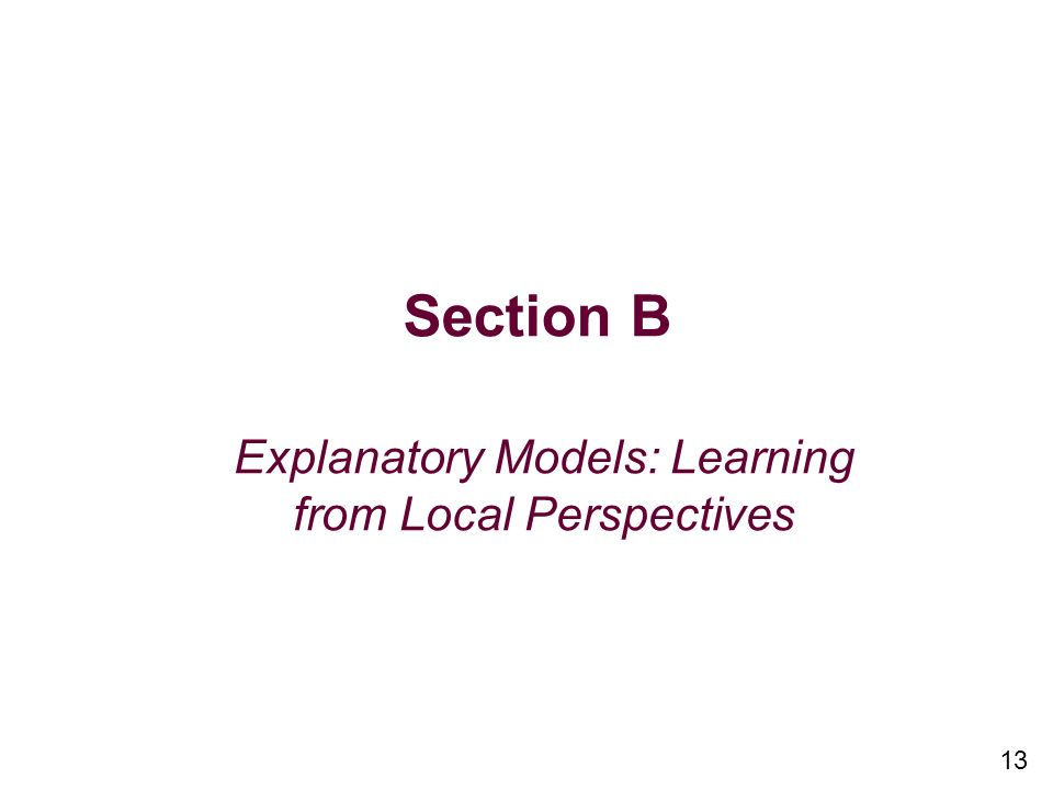 13 Section B Explanatory Models: Learning from Local Perspectives