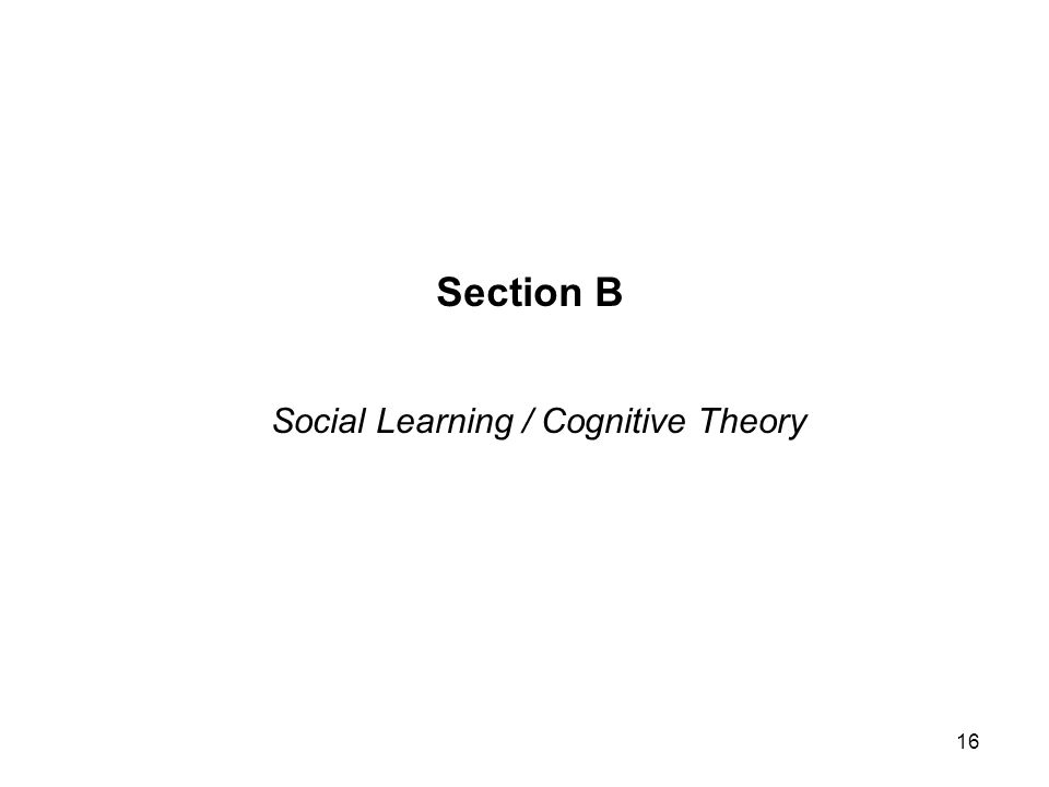 Section B Social Learning / Cognitive Theory 16