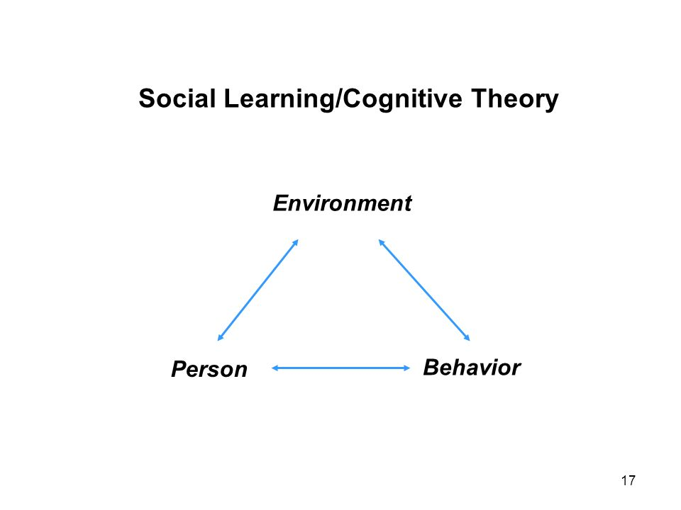 Social Learning/Cognitive Theory Environment Person Behavior 17