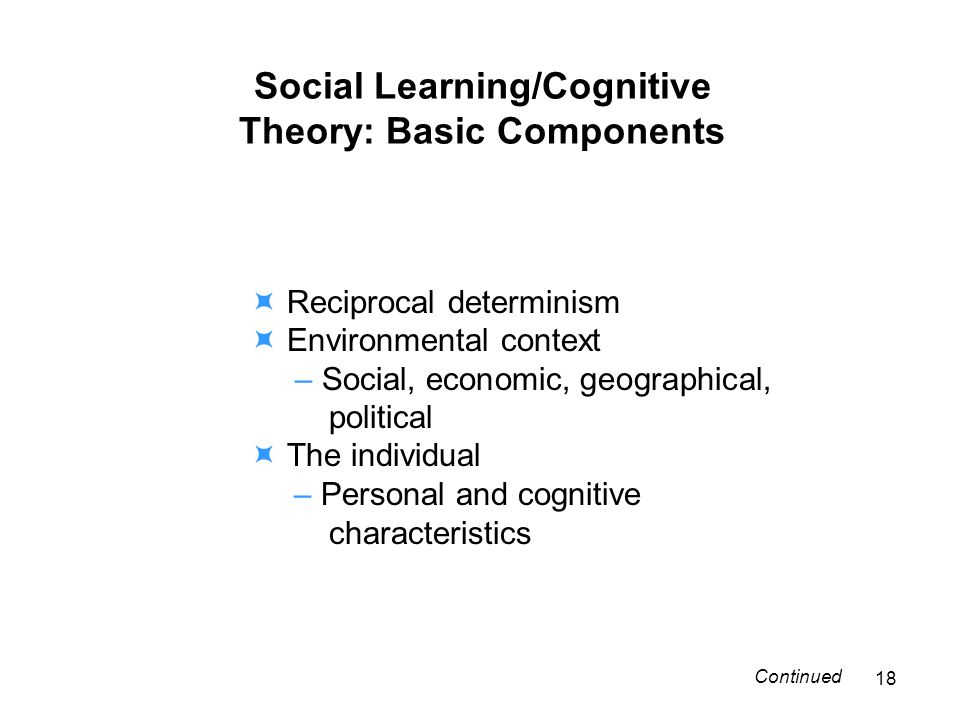 Social Learning/Cognitive Theory: Basic Components Reciprocal determinism Environmental context – Social, economic, geographical, political The individual – Personal and cognitive characteristics 18 Continued
