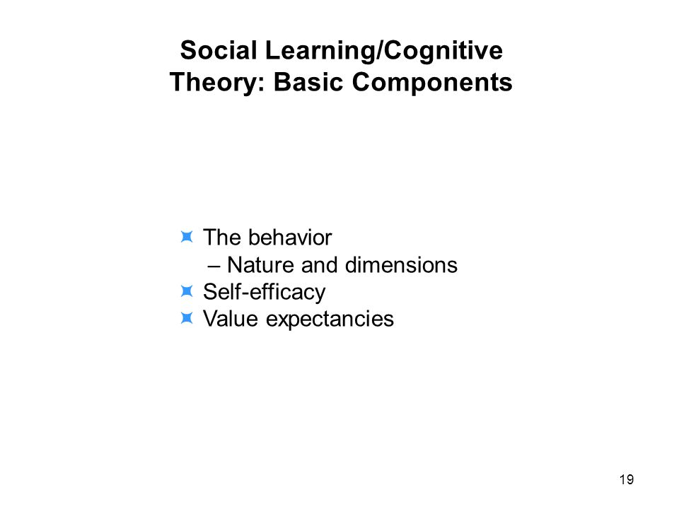 Social Learning/Cognitive Theory: Basic Components The behavior – Nature and dimensions Self-efficacy Value expectancies 19
