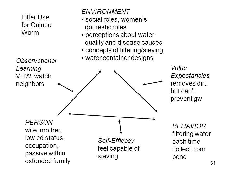 Filter Use for Guinea Worm Observational Learning VHW, watch neighbors PERSON wife, mother, low ed status, occupation, passive within extended family ENVIRONMENT social roles, womens domestic roles perceptions about water quality and disease causes concepts of filtering/sieving water container designs Value Expectancies removes dirt, but cant prevent gw BEHAVIOR filtering water each time collect from pond Self-Efficacy feel capable of sieving 31