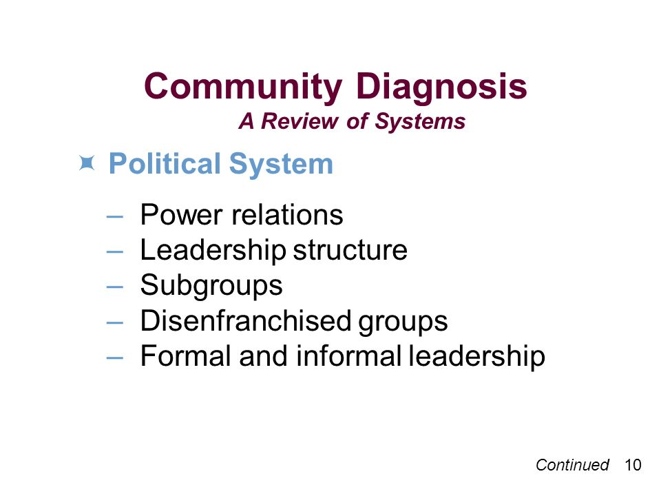Continued 10 Community Diagnosis A Review of Systems Political System –Power relations –Leadership structure –Subgroups –Disenfranchised groups –Formal and informal leadership
