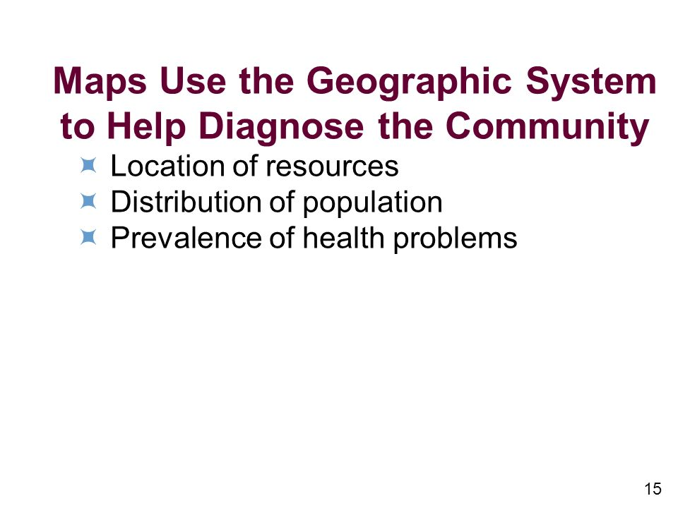 15 Maps Use the Geographic System to Help Diagnose the Community Location of resources Distribution of population Prevalence of health problems