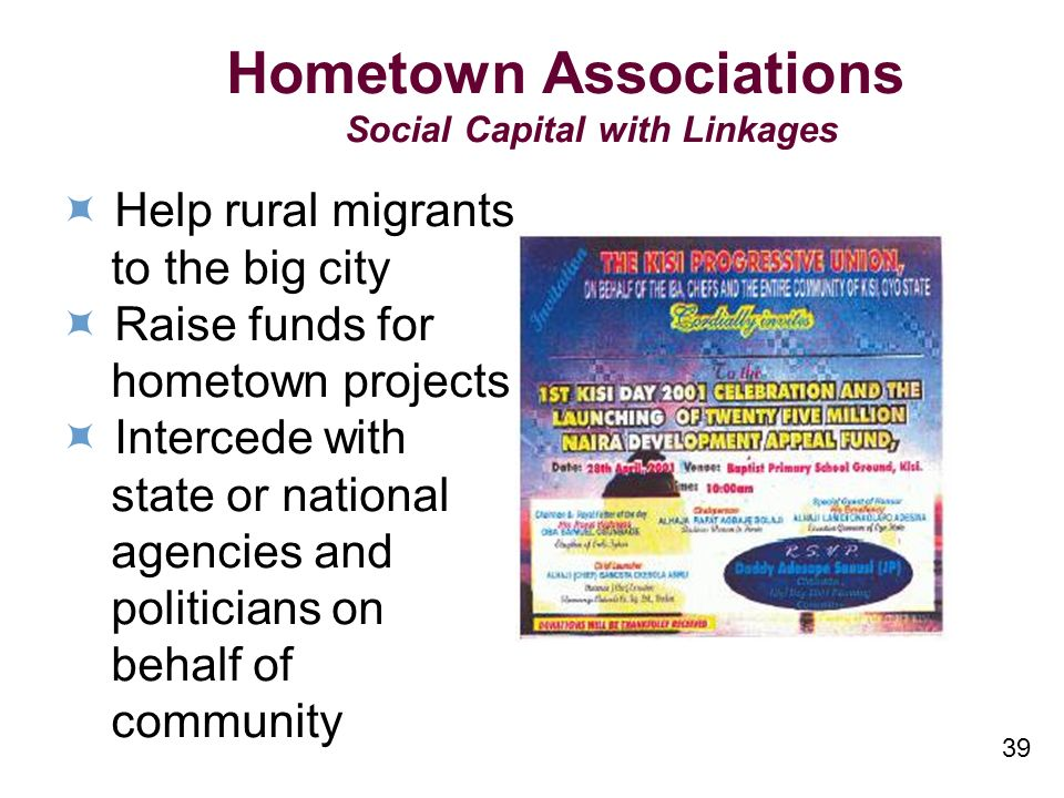 Hometown Associations Social Capital with Linkages Help rural migrants to the big city Raise funds for hometown projects Intercede with state or national agencies and politicians on behalf of community 39