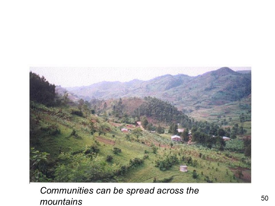 50 Communities can be spread across the mountains