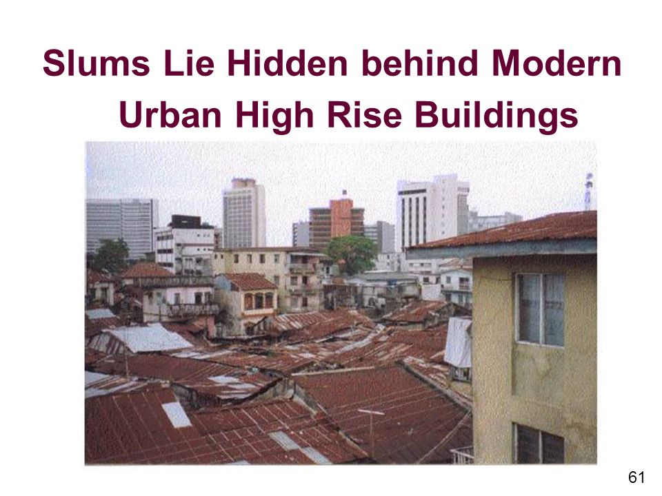 61 Slums Lie Hidden behind Modern Urban High Rise Buildings