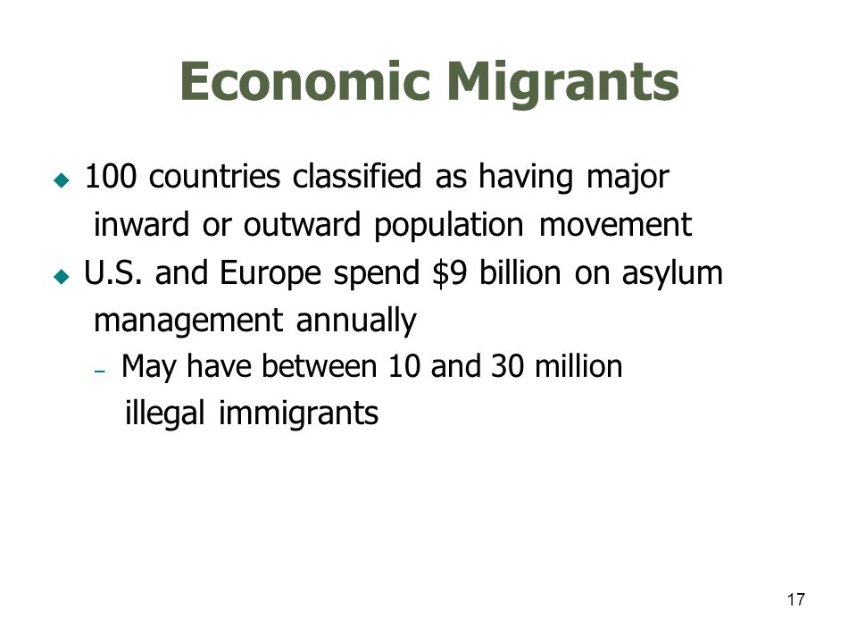 17 Economic Migrants 100 countries classified as having major inward or outward population movement U.S.