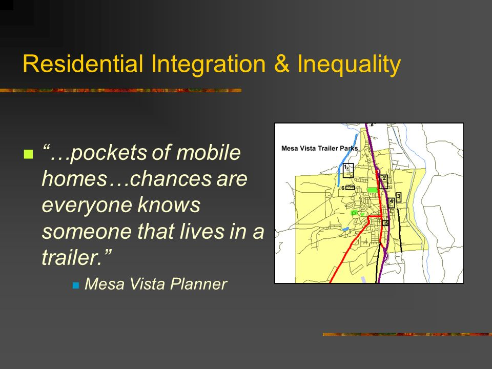 Residential Segregation & Inequality Tax issues We had to offset the extra costs some way.