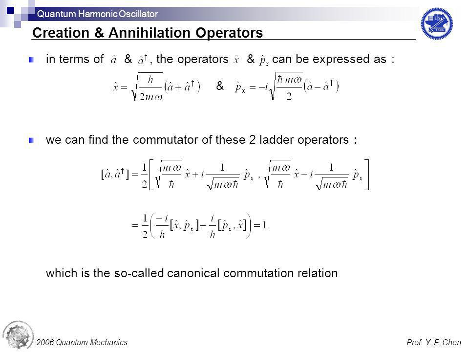 in terms of &, the operators & can be expressed as & we can find the commutator of these 2 ladder operators which is the so-called canonical commutati