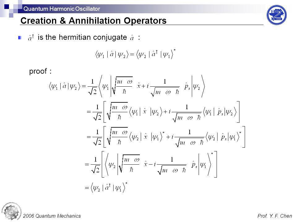 is the hermitian conjugate proof 2006 Quantum MechanicsProf. Y. F. Chen Creation & Annihilation Operators Quantum Harmonic Oscillator