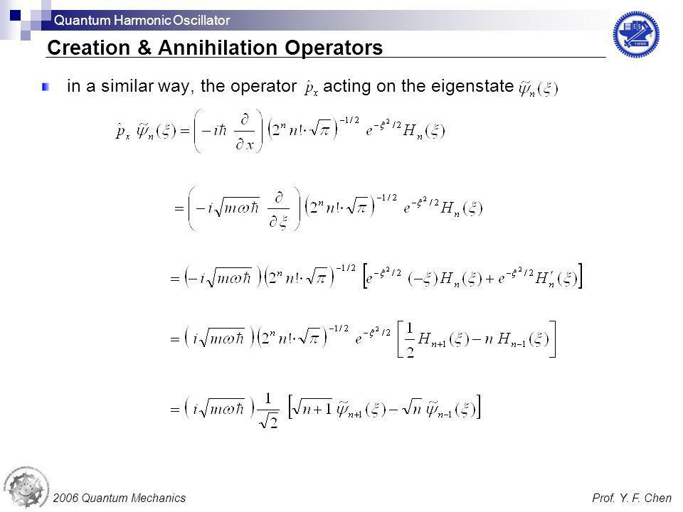 in a similar way, the operator acting on the eigenstate 2006 Quantum MechanicsProf. Y. F. Chen Creation & Annihilation Operators Quantum Harmonic Osci