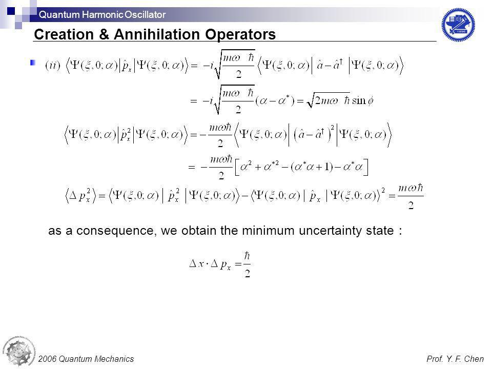 as a consequence, we obtain the minimum uncertainty state 2006 Quantum MechanicsProf. Y. F. Chen Creation & Annihilation Operators Quantum Harmonic Os