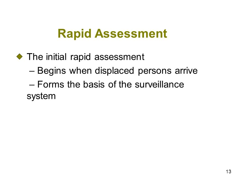 13 Rapid Assessment The initial rapid assessment – Begins when displaced persons arrive – Forms the basis of the surveillance system