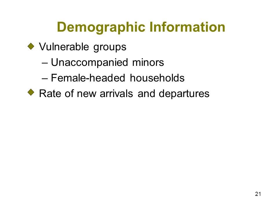 21 Demographic Information Vulnerable groups – Unaccompanied minors – Female-headed households Rate of new arrivals and departures