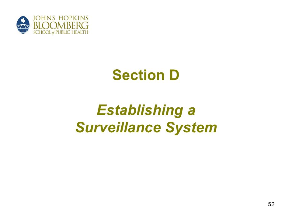 52 Section D Establishing a Surveillance System