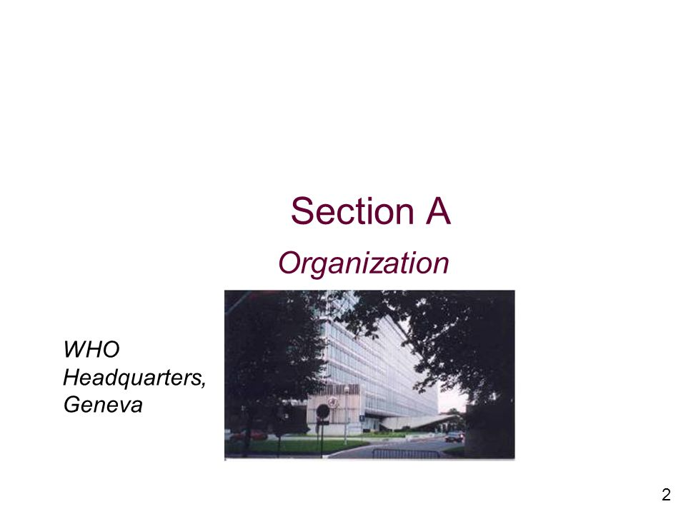2 Section A Organization s WHO Headquarters, Geneva