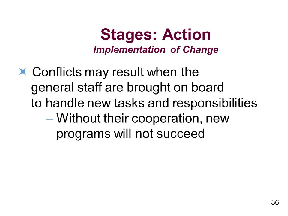 36 Stages: Action Implementation of Change Conflicts may result when the general staff are brought on board to handle new tasks and responsibilities – Without their cooperation, new programs will not succeed