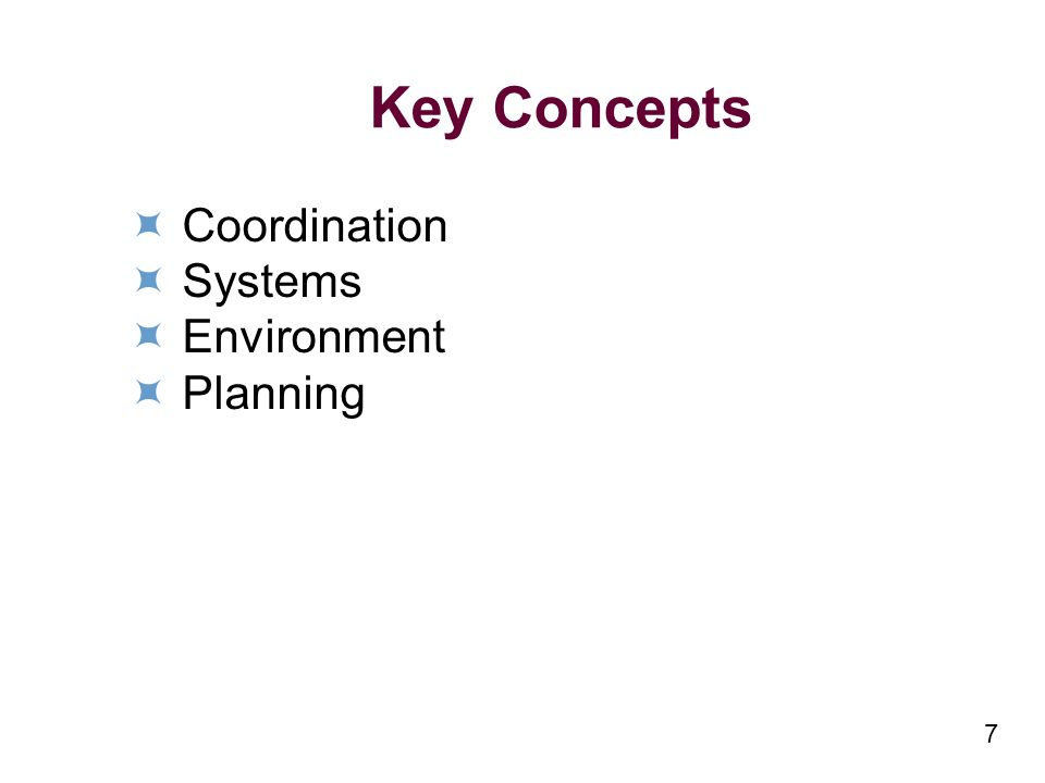 7 Key Concepts Coordination Systems Environment Planning