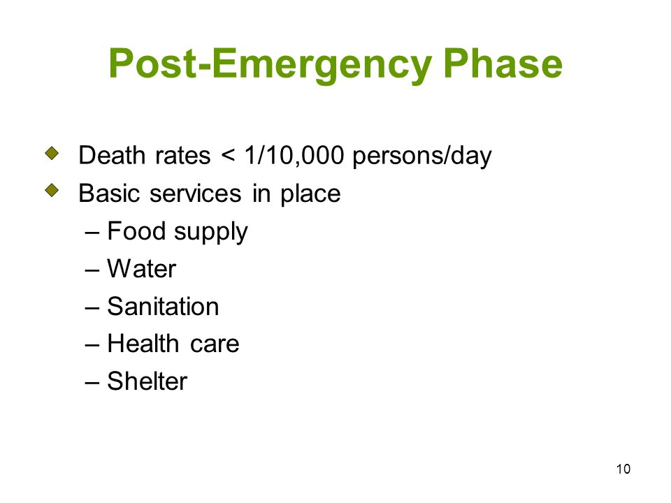 10 Post-Emergency Phase Death rates < 1/10,000 persons/day Basic services in place – Food supply – Water – Sanitation – Health care – Shelter