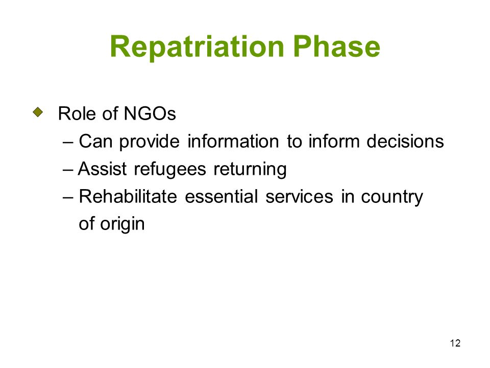 12 Repatriation Phase Role of NGOs – Can provide information to inform decisions – Assist refugees returning – Rehabilitate essential services in country of origin