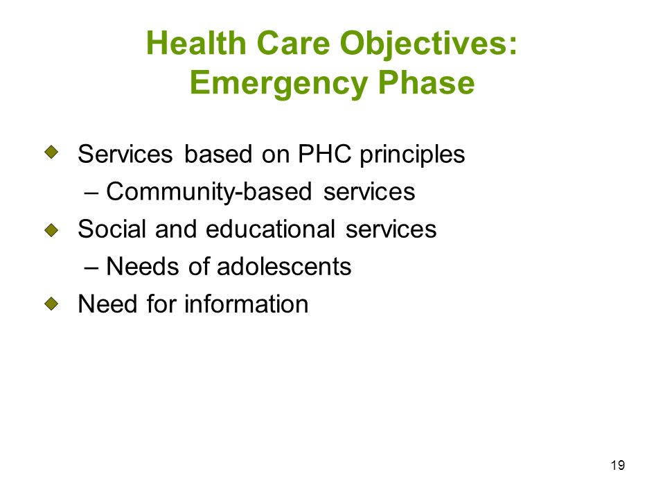 19 Health Care Objectives: Emergency Phase Services based on PHC principles – Community-based services Social and educational services – Needs of adol