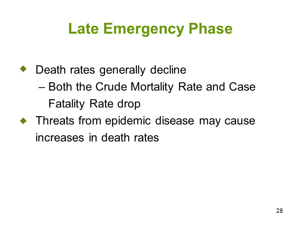 28 Late Emergency Phase Death rates generally decline – Both the Crude Mortality Rate and Case Fatality Rate drop Threats from epidemic disease may cause increases in death rates
