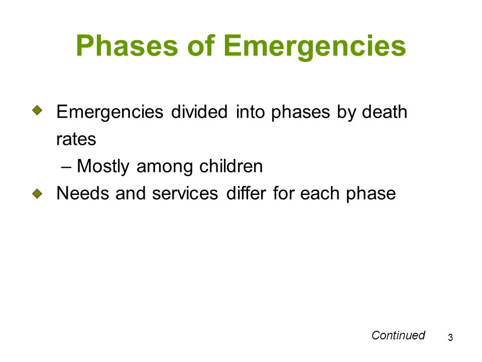 3 Phases of Emergencies Emergencies divided into phases by death rates – Mostly among children Needs and services differ for each phase Continued