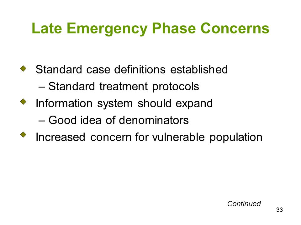 33 Late Emergency Phase Concerns Standard case definitions established – Standard treatment protocols Information system should expand – Good idea of