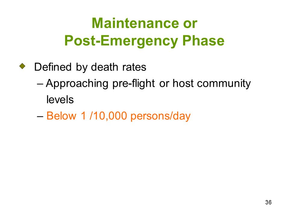 36 Maintenance or Post-Emergency Phase Defined by death rates – Approaching pre-flight or host community levels – Below 1 /10,000 persons/day