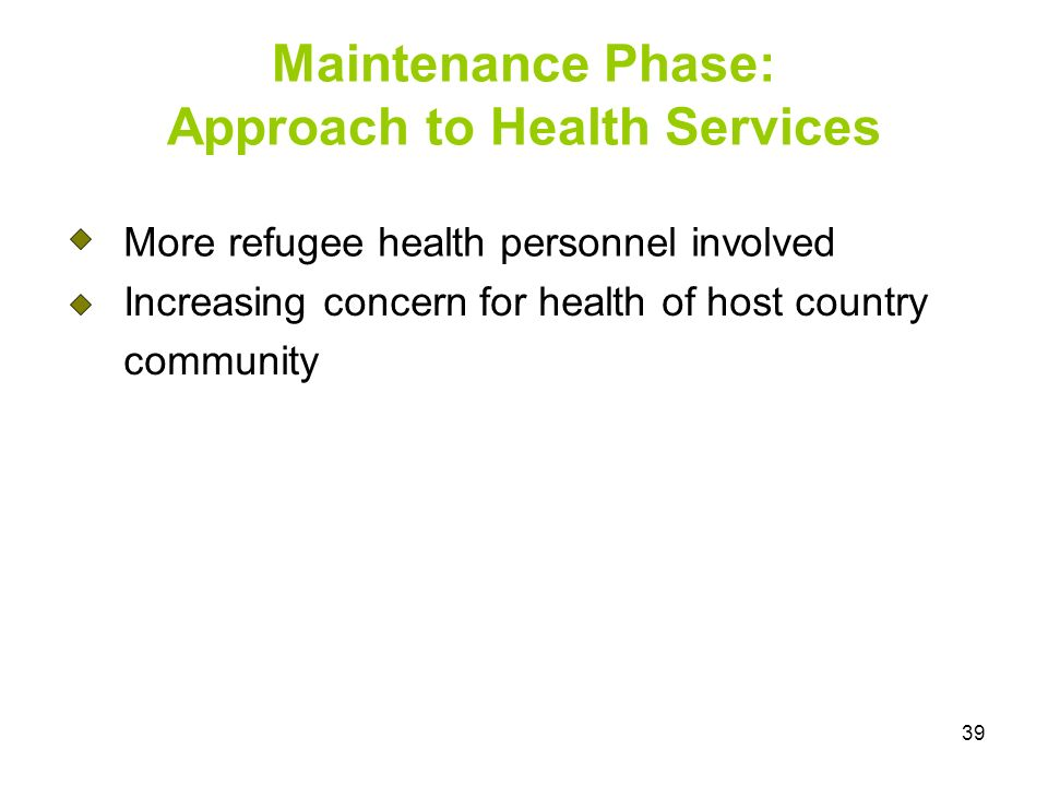 39 More refugee health personnel involved Increasing concern for health of host country community Maintenance Phase: Approach to Health Services