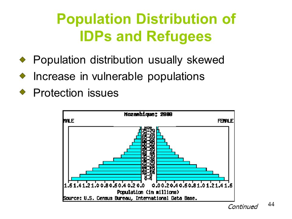 44 Population Distribution of IDPs and Refugees Population distribution usually skewed Increase in vulnerable populations Protection issues