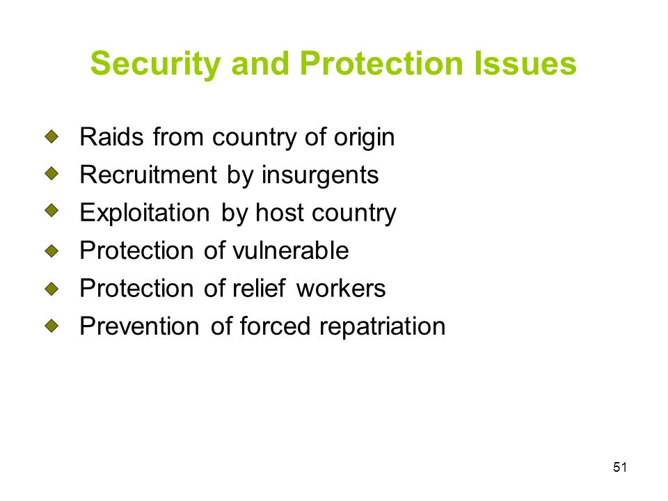 51 Security and Protection Issues Raids from country of origin Recruitment by insurgents Exploitation by host country Protection of vulnerable Protection of relief workers Prevention of forced repatriation