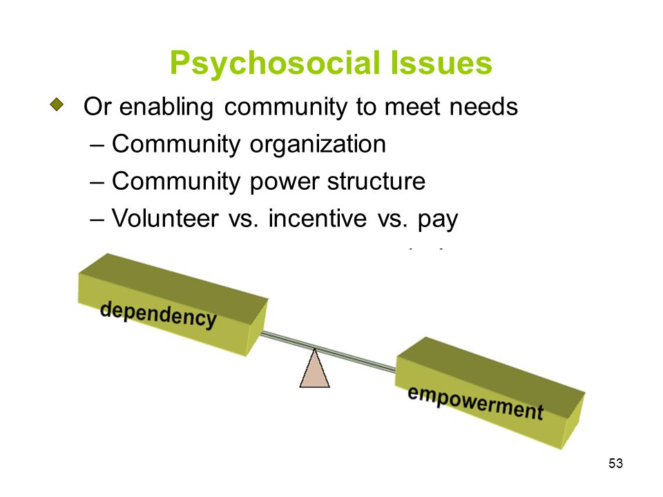 53 Psychosocial Issues Or enabling community to meet needs – Community organization – Community power structure – Volunteer vs. incentive vs. pay