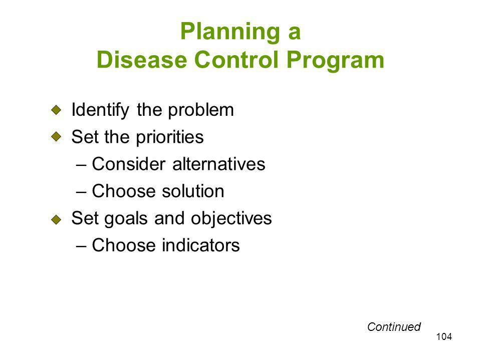 104 Planning a Disease Control Program Identify the problem Set the priorities – Consider alternatives – Choose solution Set goals and objectives – Ch